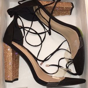 ➳ Black/Clear/Gold/Rose Gold Lace Up Perspex Heels